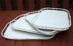 [SOLD] Hollywood Regency White Bamboo Rattan Trays