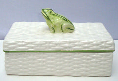 Italian Porcelain Ceramic Wicker Frog Box