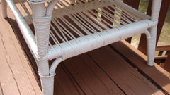 [SOLD] Vintage Cottage Victorian White Wicker Table