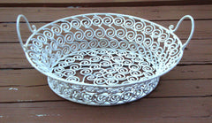 Vintage White Distressed Metal Iron Ornate Basket