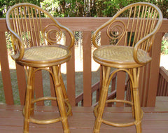 [SOLD] Mid-Century Bent Wood Rattan Bamboo Bar Stools