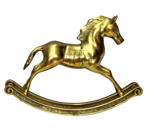 Hollywood Regency Mid-Century Brass Rocking Horse