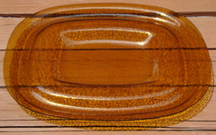 Art Deco Amber Yellow Glass Server Tray
