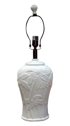 Hollywood Regency Cream Palm Tree Ceramic Lamp