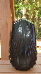 Impressive Art Deco Gothic Black Laquer Ceramic Lamp