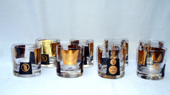 Hollywood Regency 22kt Gold Black Barware Glasses