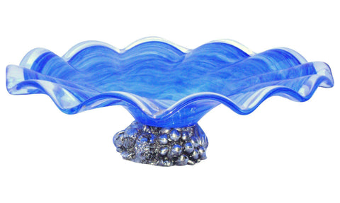 [SOLD] Deco Gothic Murano Blue Silver Wavy Glass Bowl