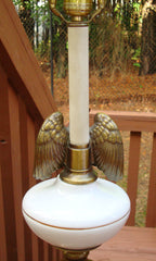 Antique Neoclassical White Brass Eagle Lamp