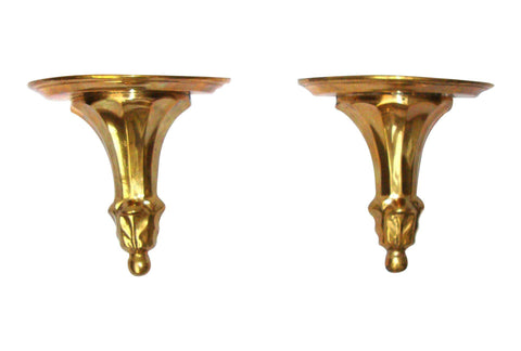 Hollywood Regency Deco Brass Sconce Shelves