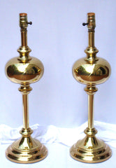 Tall Hollywood Regency Neoclassical Column Genie Brass Gold Lamps