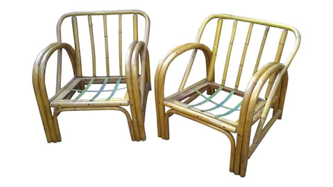 [sold] Vintage Bamboo Bent Wood Rattan Chairs - Set of 2