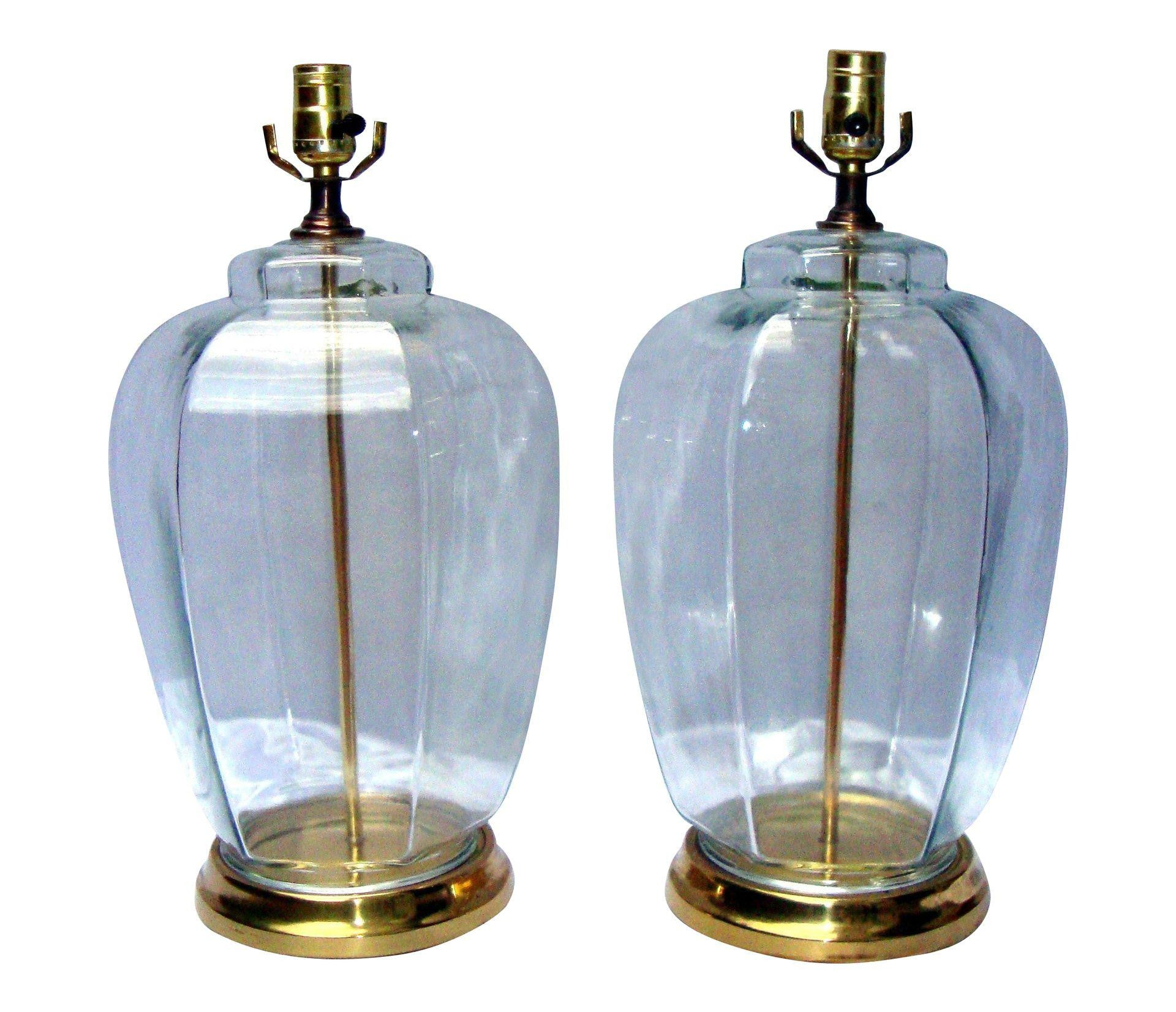 Vintage Modern Glam Glass Hexagon Lamps