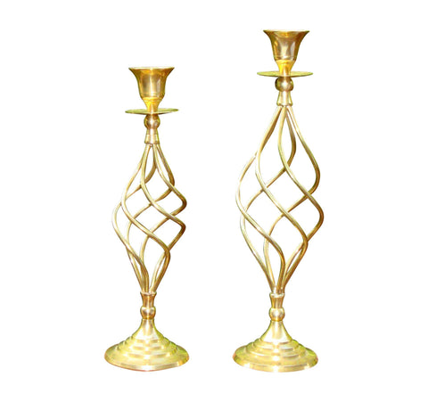 [sold] Brass Swirl Hollywood Regency Deco Candlesticks