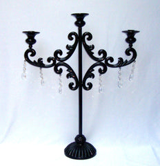 Large Gothic Deco Black Metal Crystal Candleabra