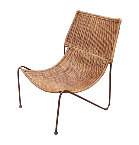 [Sold] MCM Modern Wicker Iron Frederick Weinberg Chair