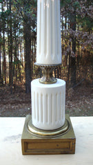 Tall Neoclassical White Gold Brass Lamp