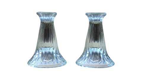 [SOLD] Modern Glam Crystal Ribbed Candle Holders - Pair