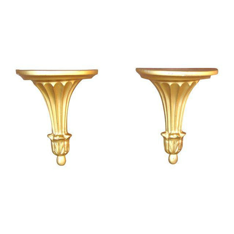 [SOLD] Gilt Neoclassical Shelf Sconces - Pair of 2
