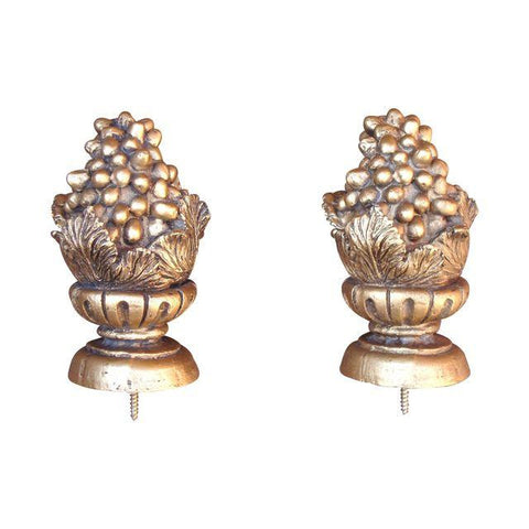 [sold] Gold Grapes Carved Giltwood Finials - Pair of 2