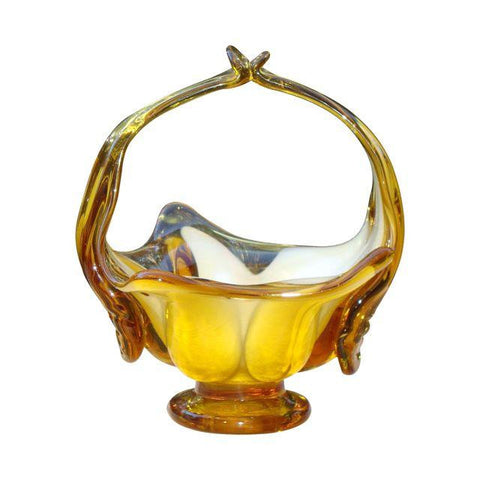 Murano Amber Blown Glass Basket