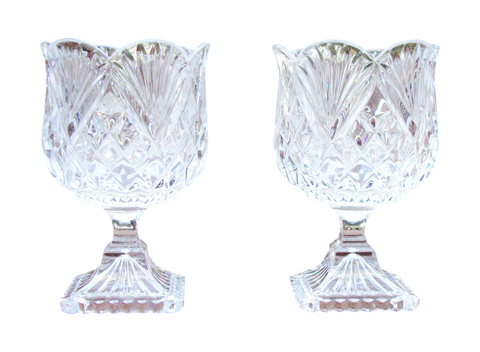 [sold] Crystal Glass Goblet Candle Holders - Set of 2