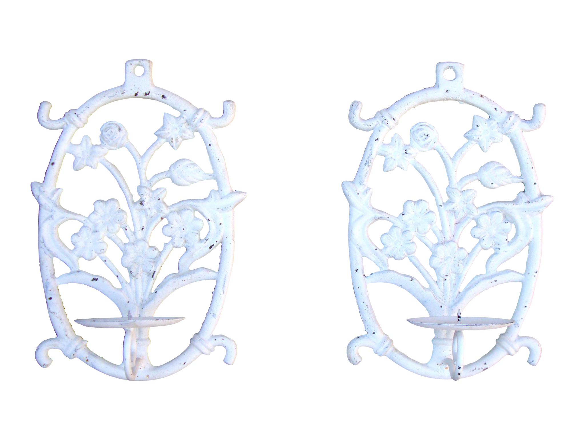 [SOLD] Painted White Cast Iron Floral Candle Sconces - 2