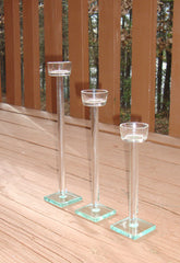 [SOLD] Minimalist Modern Glam Clear Glass Candlesticks - Set of 3