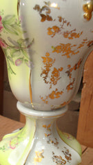 Antique Gilt Victorian Painted Floral Lamps - 2