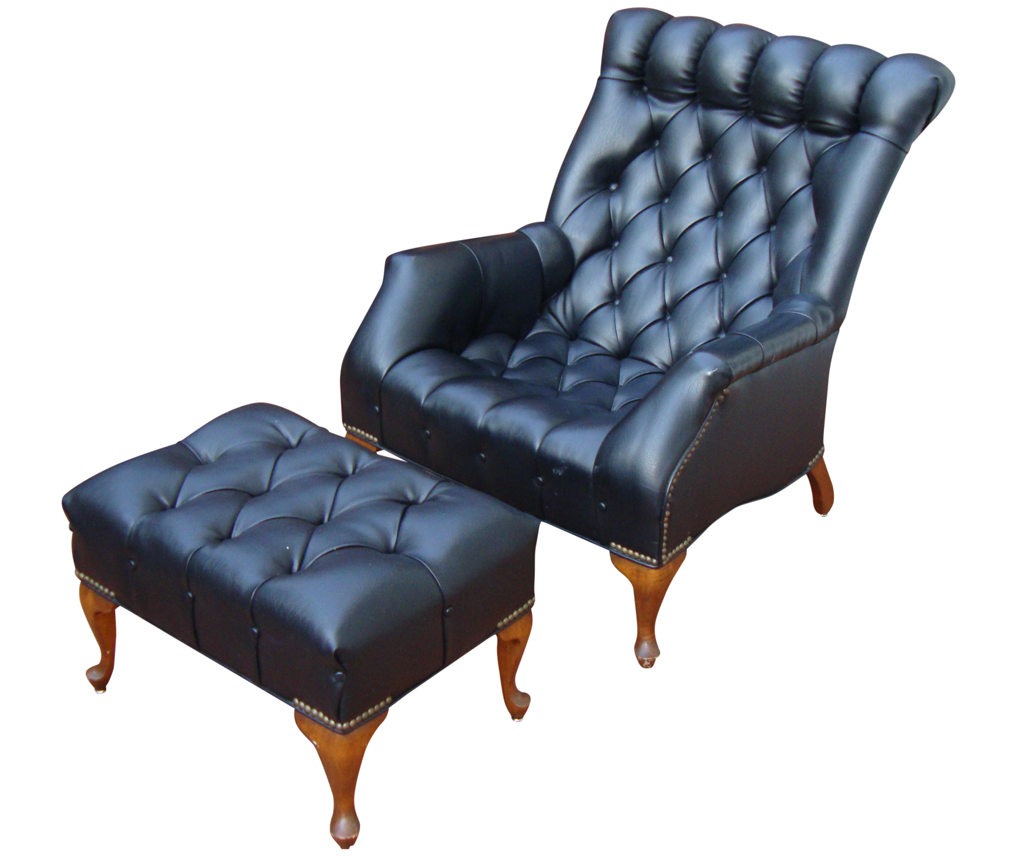 sold] Mid Century Tufted Black Leather Chair & Ottoman – ABBY ESSIE