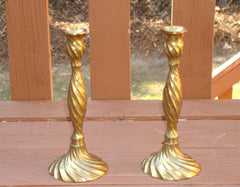[SOLD] Brass Barley Twist Arts & Crafts Candlesticks