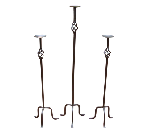 [SOLD] Impressive Wrought Iron Candle Holders - Set of 3