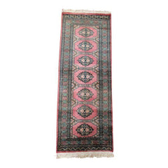 Persian Pink Tribal Balouch Geometric Runner Rug Carpet Oushak