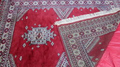 Persian Hand Knotted Burgundy Red Tan Balouch Wool Rug