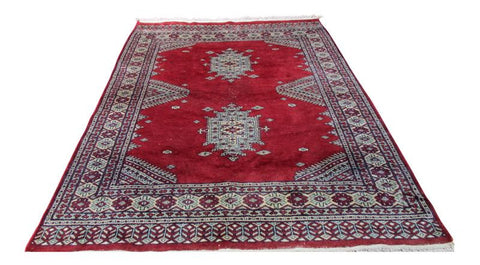 [SOLD] Persian Hand Knotted Burgundy Red Tan Balouch Wool Rug