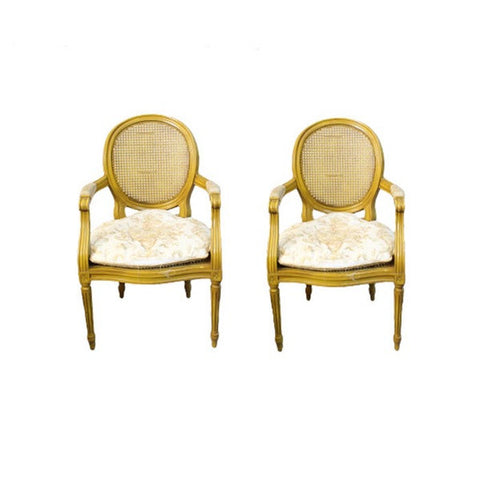 French Provincial Fauteuils Chairs in Gold Yellow Tone and Toile Cushion - Pair of 2