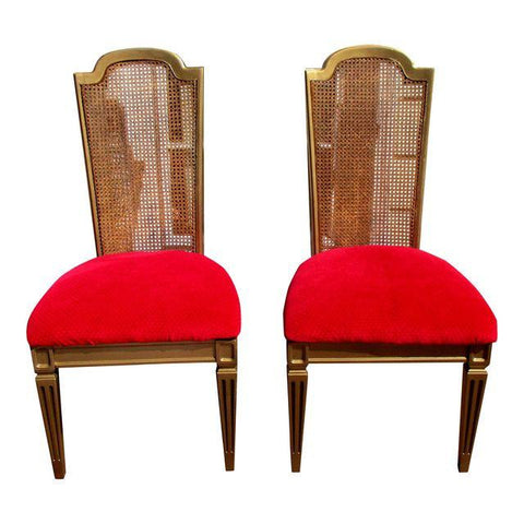 Vintage French Regency Cane Side Chairs Red Pink Velvet Velour Seats - Pair of 2 Louis