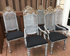 Gilt Painted Gothic Cane Dining Chairs - Set of 6