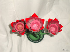MID CENTURY MODERN JERE VINTAGE METAL SCULPTURE FLORAL RED ROSE CANDLE HOLDER CA