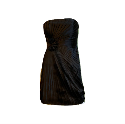 Black Satin Minuet Strapless Pleated Mini Dress