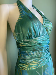 Turquoise Blue Jones New York Green Jungle Print Silk Halter Dress
