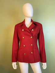 Red Wool Double Breasted Blazer