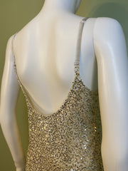 Sheer White Gold Sequin Stretch Cami Lingerie Mini Dress