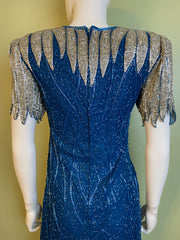 Vintage Turquoise Silver Beaded Icicle Silk Mini Dress