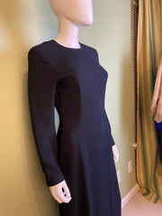 Nwot Kenar Ann Tjian Long Black Crepe Sheath Dress