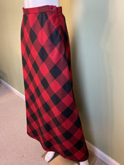 Red Wool Plaid A-Line Maxi Skirt