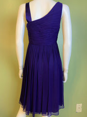 Maggy London Purple Silk Pleated Asymetrical Dress