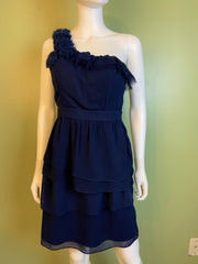 Navy Blue Silky Layered One Shoulder Cocktail Dress