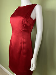 Vintage Red Silk Fitted Sheath Dress