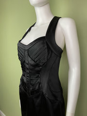 Calvin Klein Black Satin Bustier Cocktail Dress