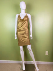 Gold Glittery Metallic Stretch Halter Dress